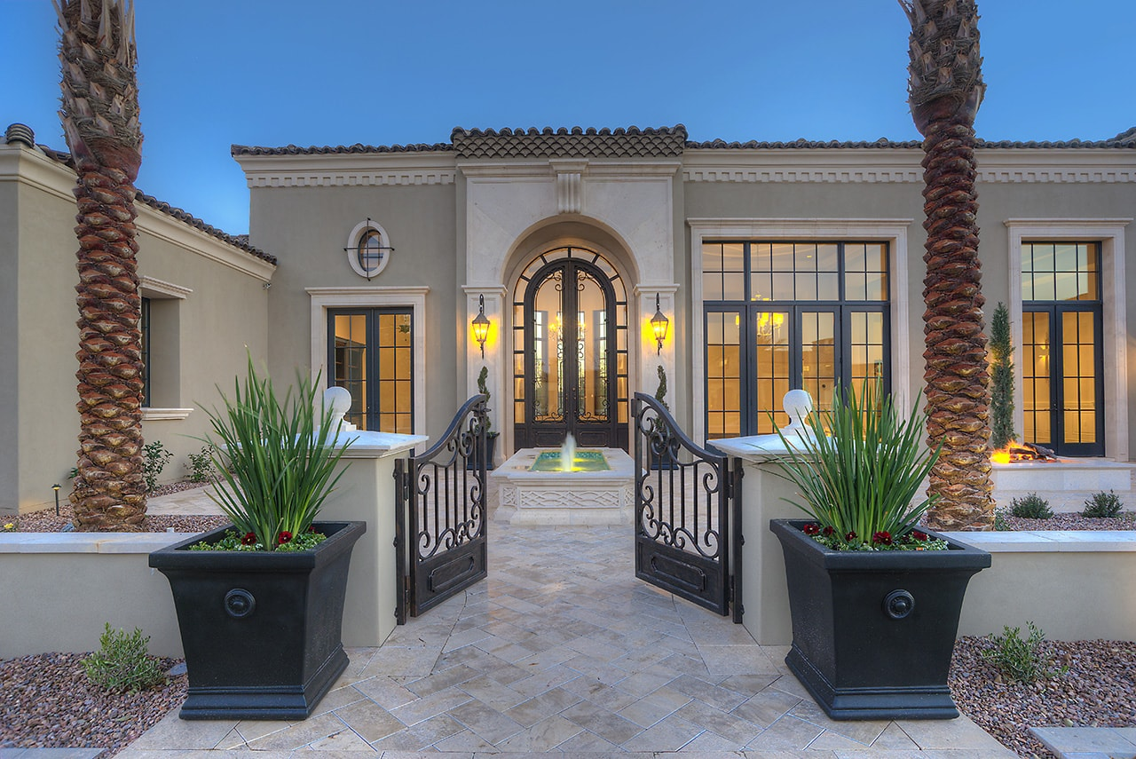 A fountain can also serve as a focal point in a front yard, plaza or courtyard.